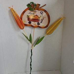 Hello Fall Yard Art Pumpkins Sunflowers Corn NWT